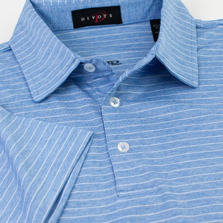 Melange Stripe Men's Polo with Tailored Collar